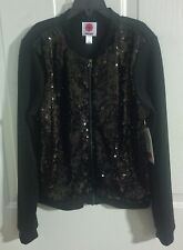 NWT Total Girl Black Sequin & Knit Zippered Bomber Jacket, Girl's Size L-14