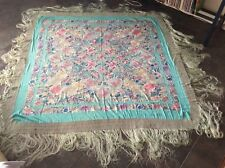 """Antique Chinese Silk Floral Embroidery Textile Double Sided Large 69"""" x 70"""""""