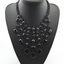 Zara Negro Piedras Preciosas Gótico declaración babero Collar Boho Gargantilla Boutique Fiesta