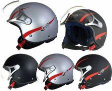 MOTORCYCLE Open Face Crash HELMET with Visor Motorbike Matt Black Silver