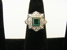 SOLID PLATINUM NATURAL PRINCESS EMERALD WITH DIAMONDS