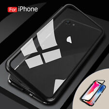 For Huawei Mate20/P20 Magnetic Adsorption Metal Bumper Tempered Glass Clear Case