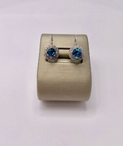 honjejewelry Stud Earrings Round Rose Gold Plated Silver London Blue Topaz cz for Women 1 Pair