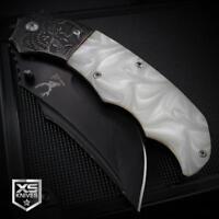 KILLER COWBOY Pearl SKULL Handle BALL BEARING Spring Assisted Pocket Knife