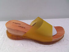 SLIP ON WEDGE HEEL MULE SANDALS  IRREGULAR CHOICE SIZE 3 YELLOW NEW