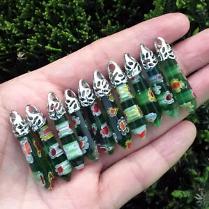 10pcs Green MURANO GLASS Stone Natural Chakra Healing Crystal Hexagon Pendant