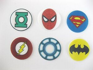 12 PRE CUT EDIBLE RICE WAFER PAPER CARD SUPERHERO CAKE PARTY TOPPERS