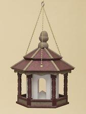 HANGING BIRD FEEDER ~ Amish Handmade Recycled Poly Hexagon ~ Cherry Tan & White