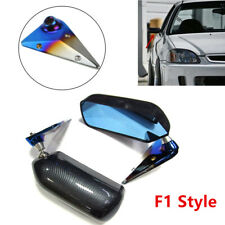 Wide Angle Adjustable Rear View Mirrors Car Side Mirror w/Metal Bracket F1 Style