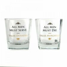 OFFICIAL SET OF TWO TUMBLERS SHOT GLASS GAME OF THRONES BOXED ALL MEN MUST SERVE