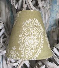 Candle Clip Lampshade Made With Clarke & Clarke 'Harriet' Fabric in Sage Green