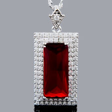 Xmas Rectangular Cut 18K White Gold Plated Red Ruby Pendant Necklace Free Chain