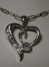 DIAMOND 10K WHITE GOLD HEART LOVE PENDANT & SILVER NECKLACE DAINTY PRETTY DESIGN