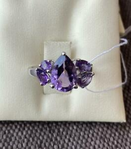 Women's Jewelry Chic Ring Sterling Silver 925 With Stone Natural Amethysts 3 gr