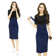 Dress Korean Fashion Women Casual Slim Wrap Braces Denim Jumpsuit Dress CutU LD