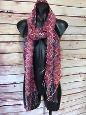 """Fashion Multi-color Scarf Shawl Colorful Zig Zag Pattern Tassels 36"""" X 8"""""""