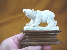(bear-11) polar bear of shed Antler 0000268F  figurine Bali detailed carving Arctic bears