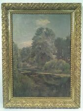 ANTIQUE NEW HOPE SCHOOL LANDSCAPE IMPRESSIONIST OIL ON CANVAS PAINTING