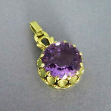 Pendant With Large Amethyst IN 585 Yellow Gold
