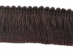 "Dark Brown Brush Fringe Trim 1.75"" Wide BTY Upholstery"