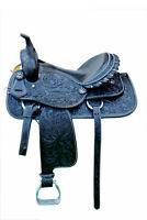 """Western Black Leather Hand Carved Barrel Racer Saddle 16"""" : Black Gator Seat"""