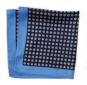 NEW - 100% Silk Pocket Square - Baby Blue & Navy Polka Dot 12.5in