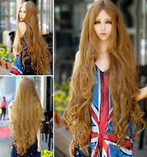 100 cm Long Women's Lady Curly Wavy Hair Full Wigs Lolita Cosplay Brown Wig