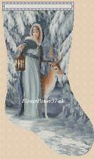 Cross stitch chart christmas stocking No289 Lady & Cerf Scène Flowerpower 37-uk