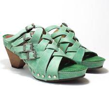 John Fluevog Janice Sandals - Sz 7.5 - Green Leather - Truth and Integrity