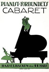Art Ad Pianist Forbundets Cabaret Pianos Piano Deco  Poster Print