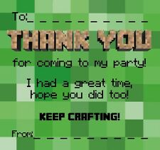 Thankyou Cards / Notes. Party. Ideal For Minecraft Fans!