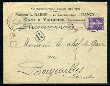 Enveloppe commerciale en recommandé de Nancy pour Boujailles en 1909 - JJ 23