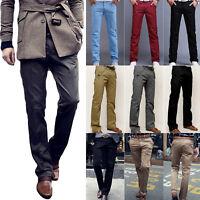 Men Casual Slim Straight Leg Long Trousers Formal Business Dress Pants Slacks US