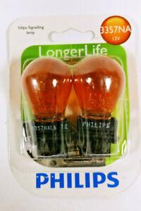 Philips Longer Life 3357NA Turn Signal Lamp Bulb Pair of 2 12V Amber Color