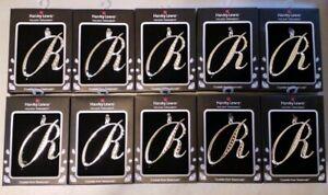 "10 Initial Letter ""R"" Harvey Lewis Swarovski Crystal Silver Monogram Ornament"