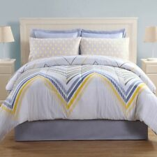 "6 Pc Ellison Bed-in-a-Bag ""Flynn"" White Blue Yellow ~ Twin **NEW**"