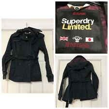 Superdry Limited Trench Coat Black size XS Women With Detachable Hoodie (C48)
