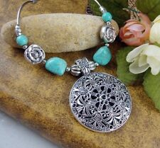 Bohemian Silver Flower Pendant Tibetan Turquoise Bead Necklace Vintage Jewelry