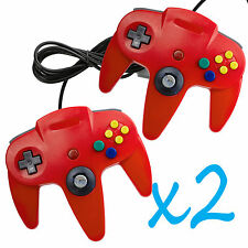 2 PCS NEW Long Controller Game System for Nintendo 64 N64 Red US Ship