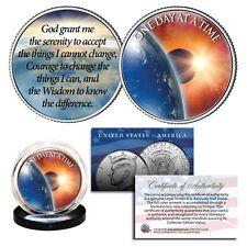 ONE DAY AT A TIME Sun Moon Earth Serenity Prayer U.S. JFK Half Dollar Holy Coin