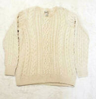Vtg LL Bean Men's Sz Large Wool Cable Knit Cream Pullover Ireland Sweater