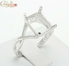 Free Shipping 925 Sterling Silver 9x11mm Emerald Shape Semi Mount Ring Jewelry