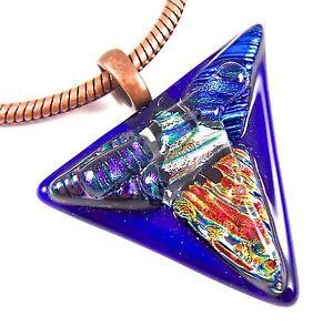 DICHROIC Glass PENDANT Copper Slide Cobalt Blue Purple Orange Triangle Mosaic