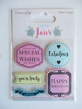 Dovecraft Couture Du Jour Clear Stamps - Special Wishes , Fabulous , with Love