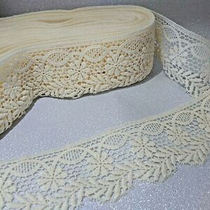 3 mtrs Guipure/marcame vintage 3.5 inches/90mm scolloped edged cotton lace trim