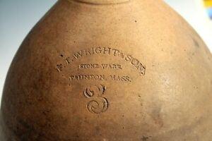 Stoneware Jug Antique FT Wright Taunton MA 19th Crock 3 Gallon New England