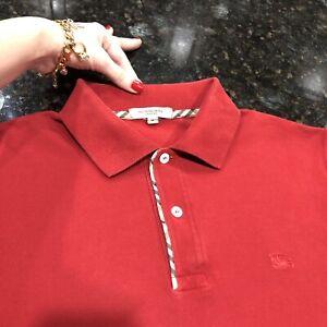 M Medium Authentic Burberry Men Polo Shirt Red Check Placket Golf Tennis Sweater
