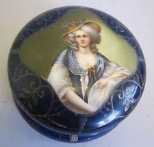 Antique Austrian Hand-Painted Dresser Box w/ Silver Overlay  c. 1900  porcelain