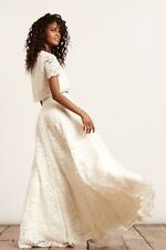Haute Hippie High-Waist Rosette Lace Maxi Skirt Small $755