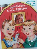 1950s Vtg KIDS BARN Rotate Wheel HORSE Goat Cow GRANDSON BIRTHDAY GREETING CARD